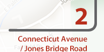 Connecticut Avenue and Jones Bridge Road Project Anticipated completion: Spring 2022  Improvements: Phase 3 improvements include sidewalk reconstruction, underground and overhead utility relocations, drainage and stormwater management improvements, reconstruction of intersection traffic signals and replacement of the curb and gutter.