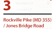 Rockville Pike and Jones Bridge Road Project Anticipated completion: Fall 2018  Improvements: Pedestrian path and roadway improvements, dynamic signaling, modification of the median at Woodmont Ave, reconfiguration of Westbound route at intersection.